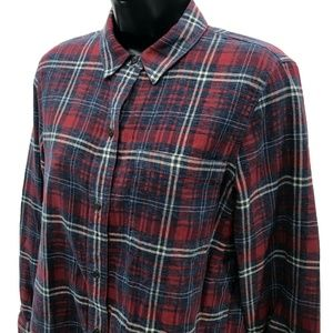 Madewell Cotton Shirt Womens S Small Red Plaid